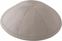 Kippah Light Gray Linen 6 Part One Size Fits All