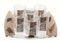 Liquor Set with 6 Glasses And Tray Applique - Tulip Brown