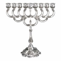 Oil Menorah Nickel Plated Ornate Filigree Flowered Design 15""