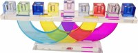 Candle Menorah Multi-Colored Crystal on Circles Stand