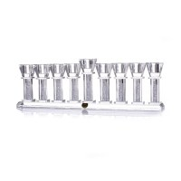Oil Menorah Crystal with Crushed Glass