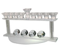 Crystal Oil Menorah Haneiros Hallalu on Raised Stand with Crushed Glass Stems 8""