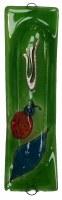 Glass Mezuzah Case Lady Bug Design Green 7cm