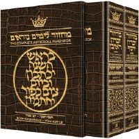 Artscroll Machzorim 2 Volume Slipcased Set Full Size Alligator Leather Ashkenaz