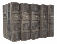 Artscroll Hebrew English Machzorim: 5 Volume Pocket Slipcased Set - Sefard - Graystone Faux Leather