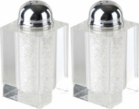 Salt and Pepper Shakers Crystal with Crushed Glass