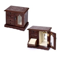 Jewelry Box Wood with Door and Drawers