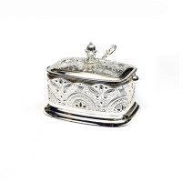 "Honey Dish Silver Plated with Intricate Design Rectangle 3"" x 5"""