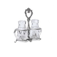 Crystal Salt and Pepper Shakers Set in Silver Plated Holder
