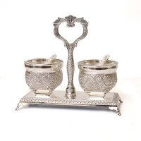 Salt and Pepper Dish Silver Plated Filigree Design with Holder