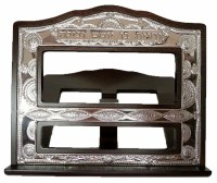 Tabletop Shtender Wood and Silver Plated with Filigree Design
