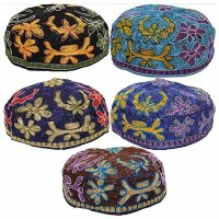 Bucharian Kippah Machine Made Size 58 Assorted Styles and Colors - Single Piece