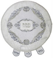 Matzah Cover Brocade Round with Heavy Plastic