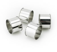 Napkin Rings Silver Beaded Design Set of 4