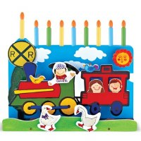 Wooden train Menorah