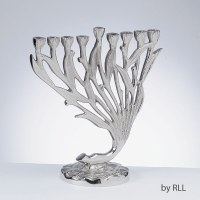 "Candle Menorah Tulips Nickel Plated Aluminum 8x9"""