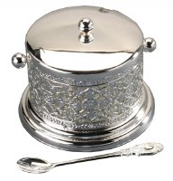 Decorative Dish Silver Plated with Smooth Cover Glass Insert and Spoon