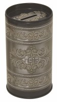 Tzedakah Box Gray with Swirl Design