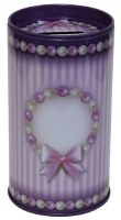 Tzedakah Box Purple with Striped Design