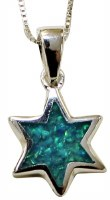 Silver & Opal Star Of David Necklace #MJB0002
