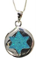 Silver & Opal Star Of David Necklace #MJB0014