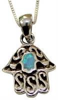 Silver & Opal Hamsa Necklace #MJB0272