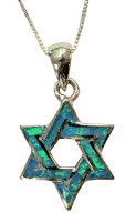Silver & Opal Star Of David Necklace #MJB0273