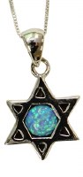 Silver & Opal Star Of David With Chai Necklace #MJB0398