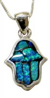 Silver & Opal Hamsa Necklace #MJB0439