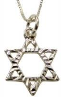 Silver Star Of David Necklace #MJB1002