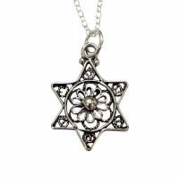 Silver Filigree Star Of David Necklace #MJB1105CC