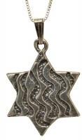 Silver Star Of David Necklace MJB1118