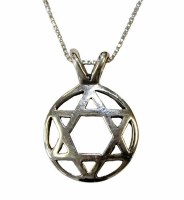 Silver Star of David Necklace #MJB1618BC