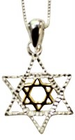 Silver Star of David Necklace With Gold Plating #MJB1901