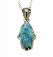 Silver Opal Hamsa Necklace #MJB224BC