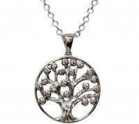 Silver Tree of Life Pendant Necklace with CZ Stones