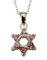 Silver Star of David with Pink Color Stones Necklace #MJB40PKCC