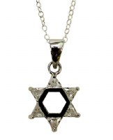 Silver Star of David with White Color Stones Necklace #MJB40WTCC