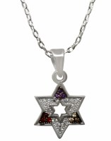 Silver Necklace Star Of David With Multicolor Stones