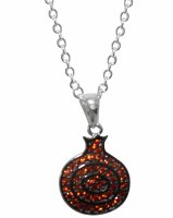 Silver Necklace Pomegranate Pendant with Red Micro CZ Stones