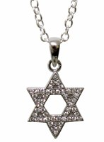 Silver Star of David Necklace with Micro CZ Stones