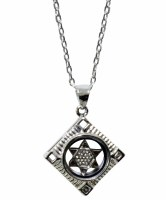 Silver Square with Star of David Magnetic Necklace #MJB6314