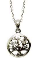 Necklace Silver Tree of Life Round Pendent