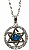 Silver Star of David Necklace With Opal and Micro CZ Stones #MJB6687