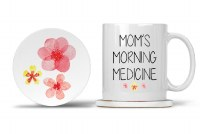 Mom Mug with Matching Coaster Mom's Morning Medicine 11oz