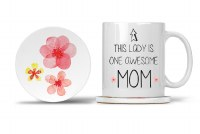 Mom Mug with Matching Coaster This Lady is One Awesome Mom 11oz