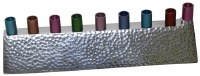 Candle Menorah Aluminum Hammered Design with Nickel Plated Finish and Colorful Cups 2.5""