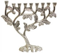 Candle Menorah Nickel Tree Design and Shape 9.5""