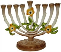 Candle Menorah Enamel Multicolored Floral Design 6""