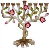 "Menorah Enamel Multicolored Floral Design 6"""